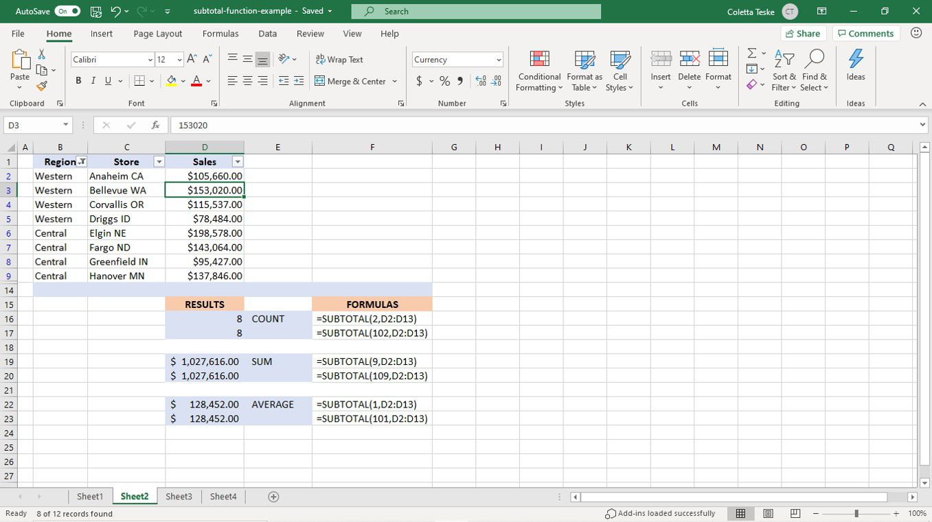 Results of the SUBTOTAL function on filtered data in an Excel worksheet