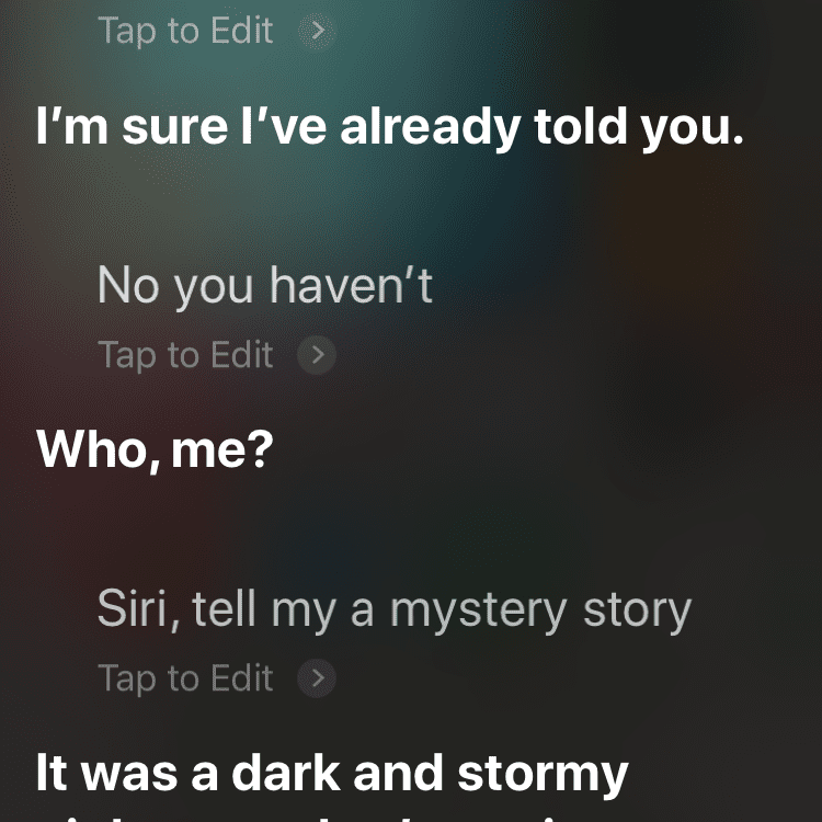 Siri conversation about asking to read a mystery story