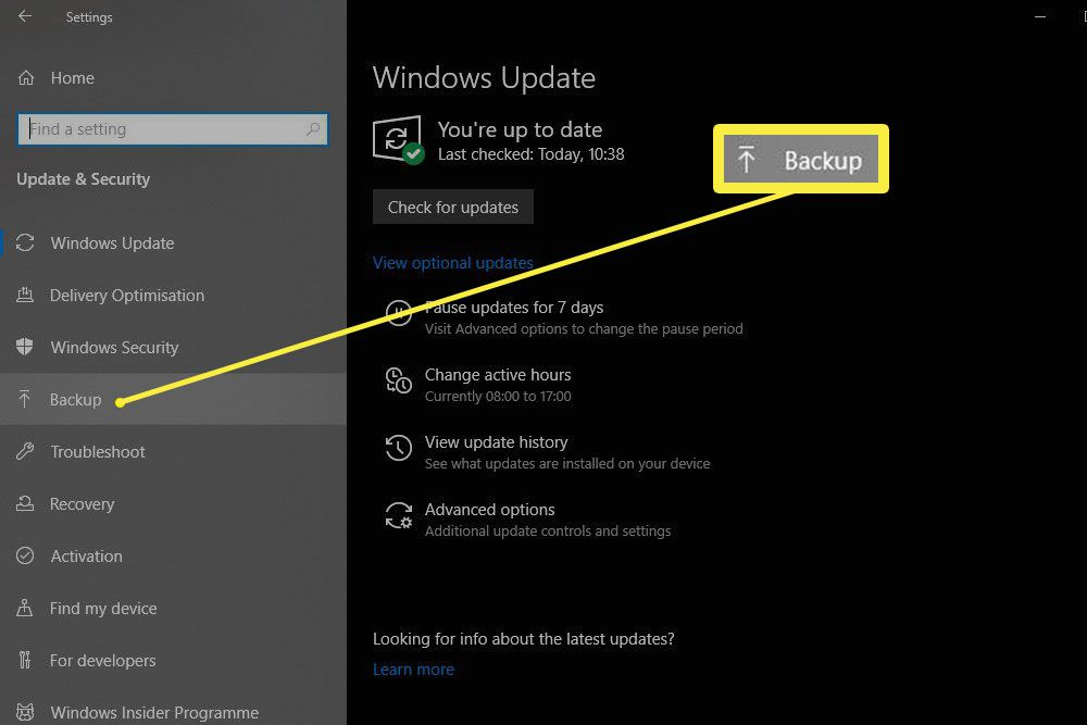 The Backup button highlighted in the Update & Security pane of Windows Settings in Windows 10.