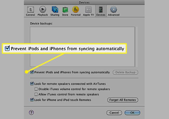 iTunes Devices preferences with a check mark in front of Prevent iPods and iPhones from syncing automatically