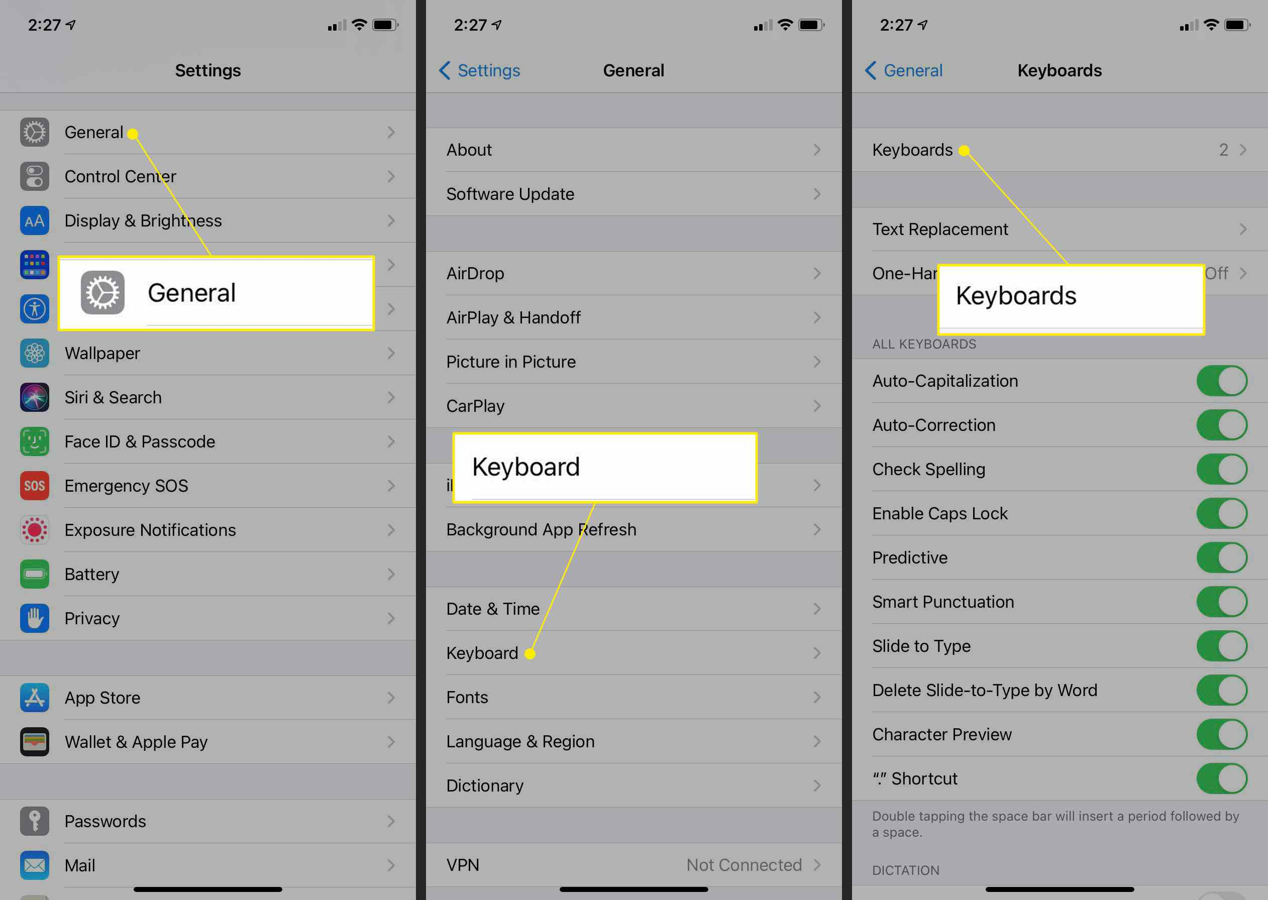 iOS Settings with General, Keyboard, and Keyboards highlighted