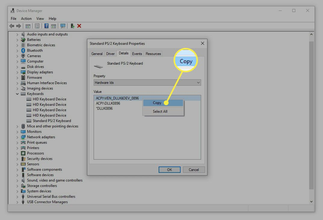 Copy option for PS/2 keyboard hardware ID in Device Manager.