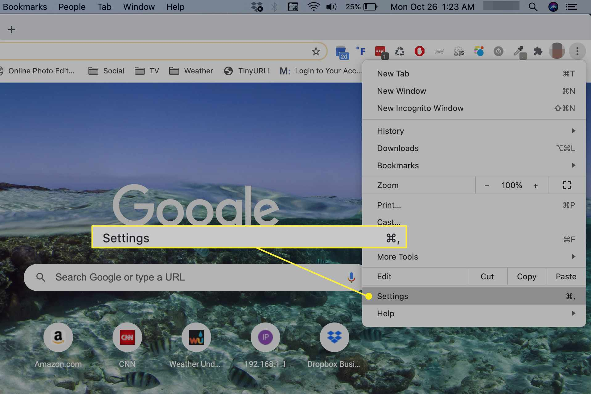 Settings in Chrome menu