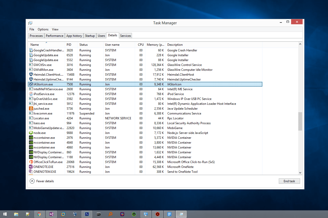 IAStorIcon EXE file in Task Manager