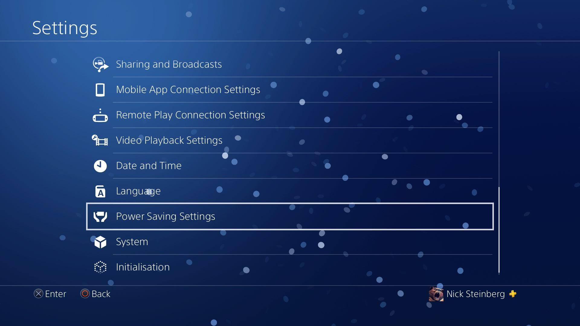 Selecting Power Saving Settings in PS4 Settings menu.