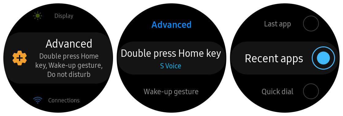 Samsung Gear S3 home key shortcut