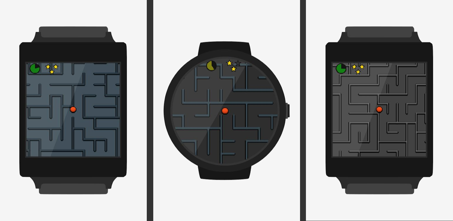 Screenshots of the game Wear Maze displayed on illustrated smartwatches