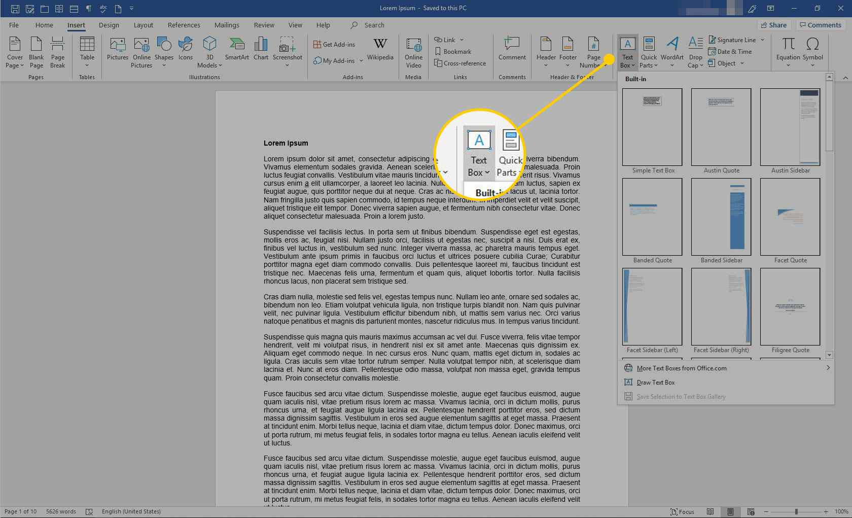 Text Boxes in Word