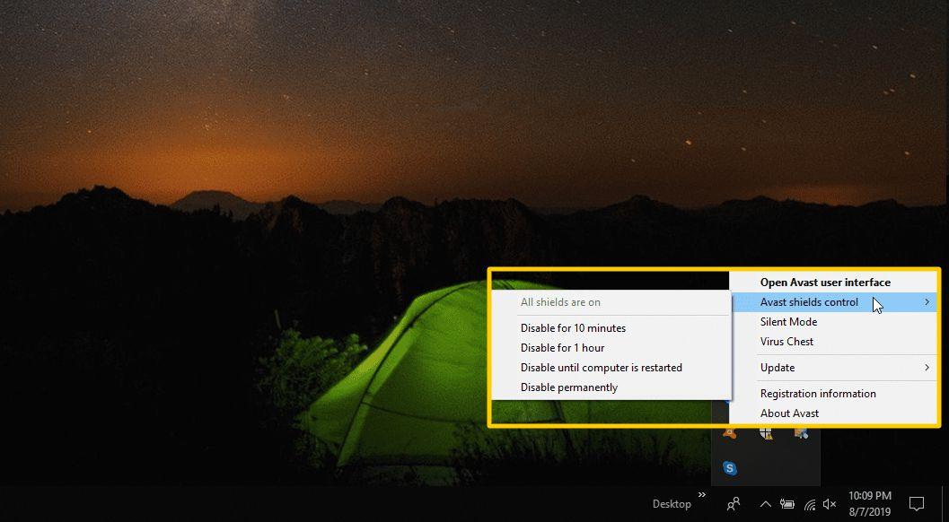 Screenshot of selecting Avast shields control in the taskbar