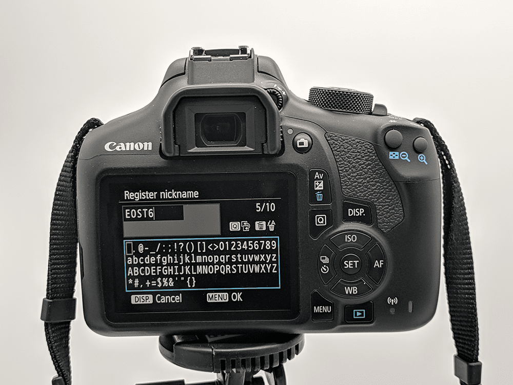 The nickname function on a Canon DSLR.