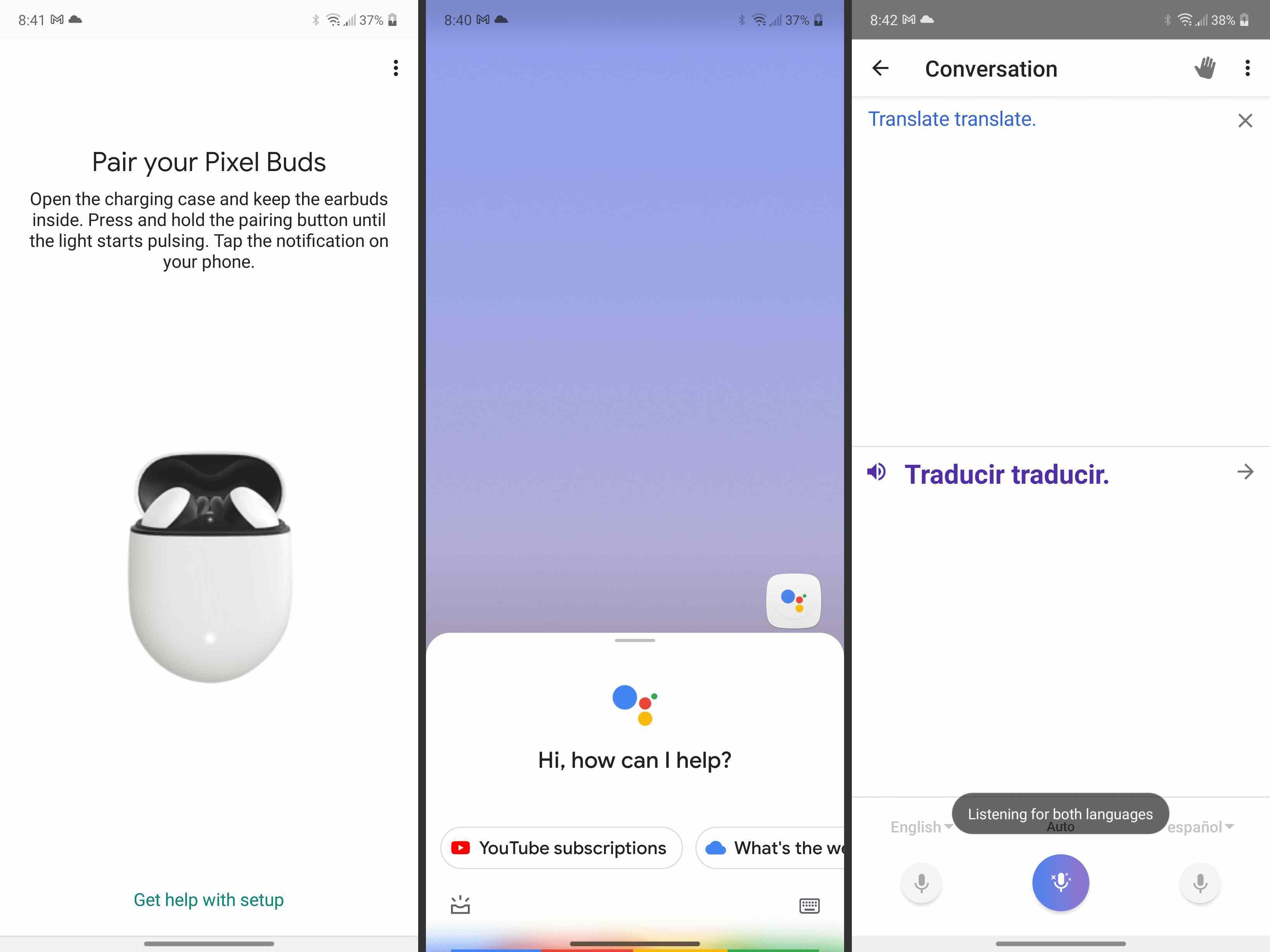 Pair and using Google Translate via the Google Buds.