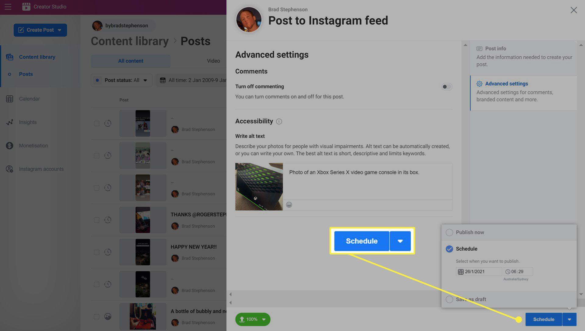 Instagram Facebook Creator Studio website.