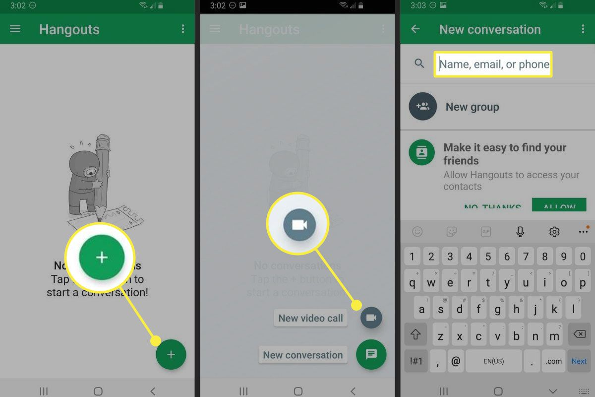 The plus sign, new video call, and search bar in Google Hangouts
