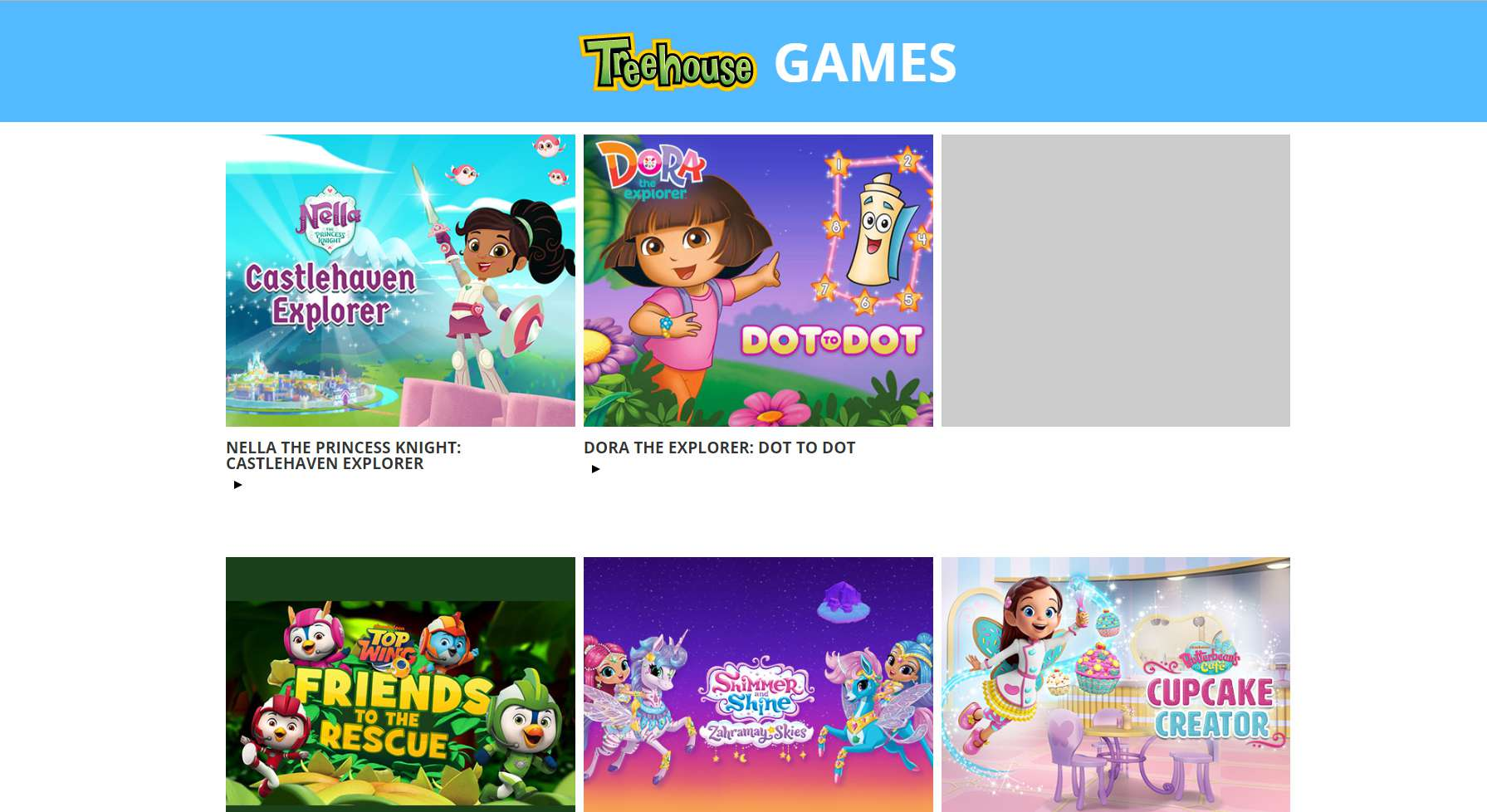 The homepage of Treehouse Games