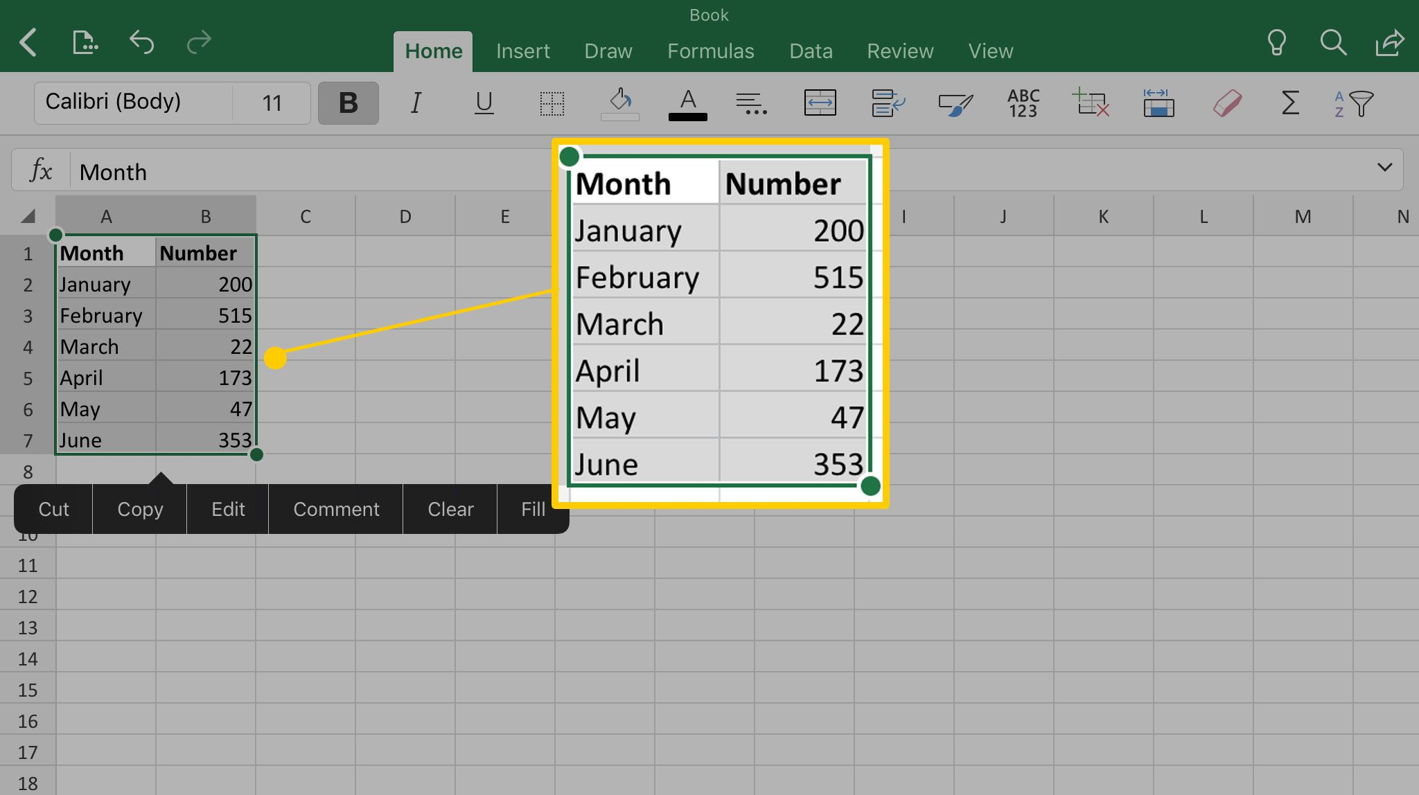 Making a chart in Excel for iPad