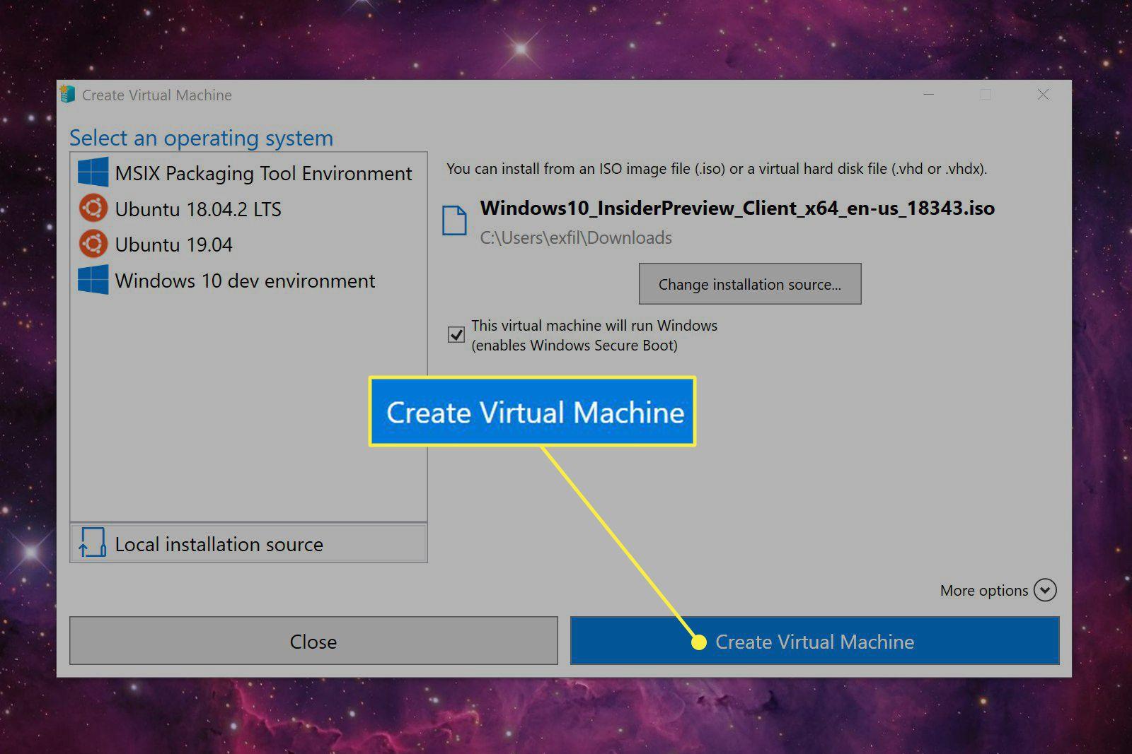 The Create Virtual Machine button