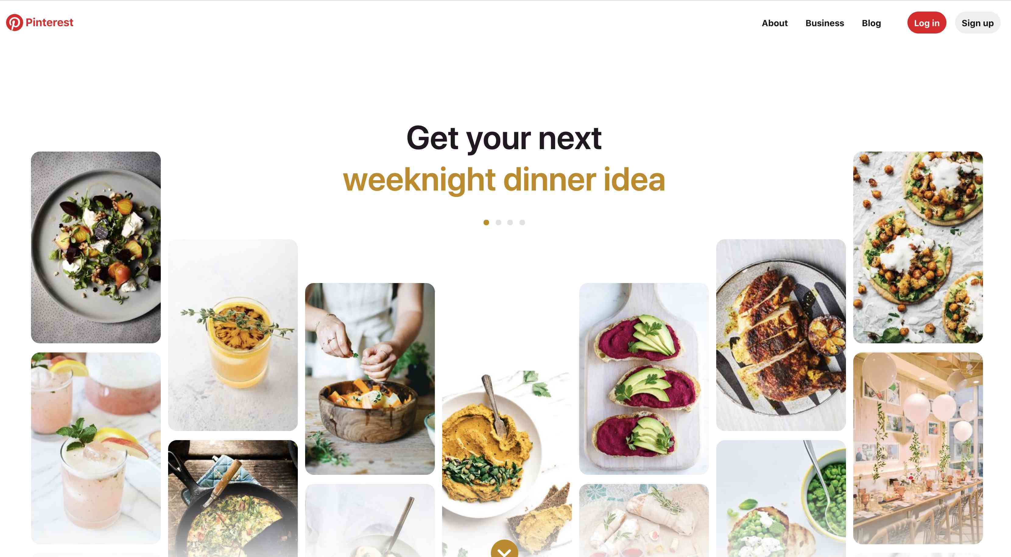 Pinterest home page with image slideshow