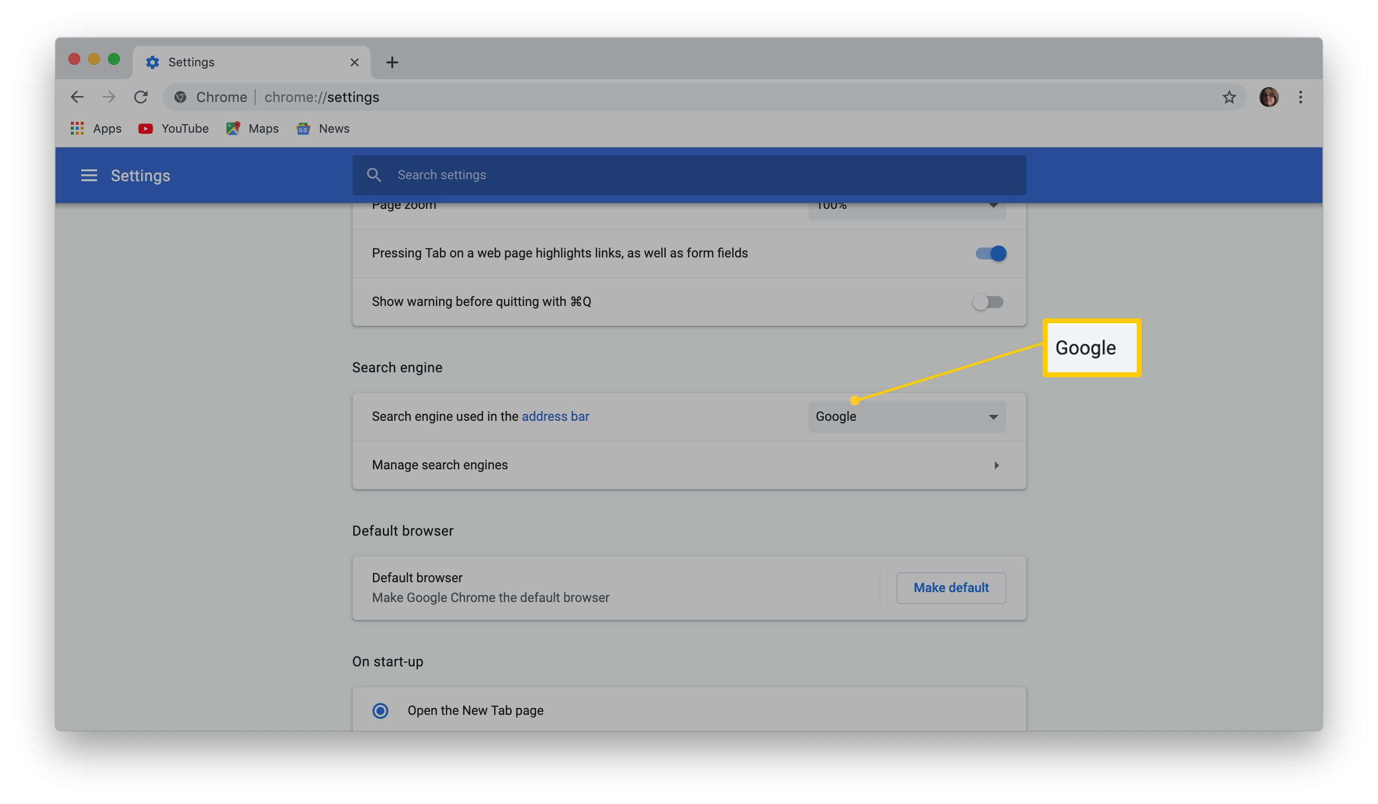 Where to change your choice of search engine on Google Chrome