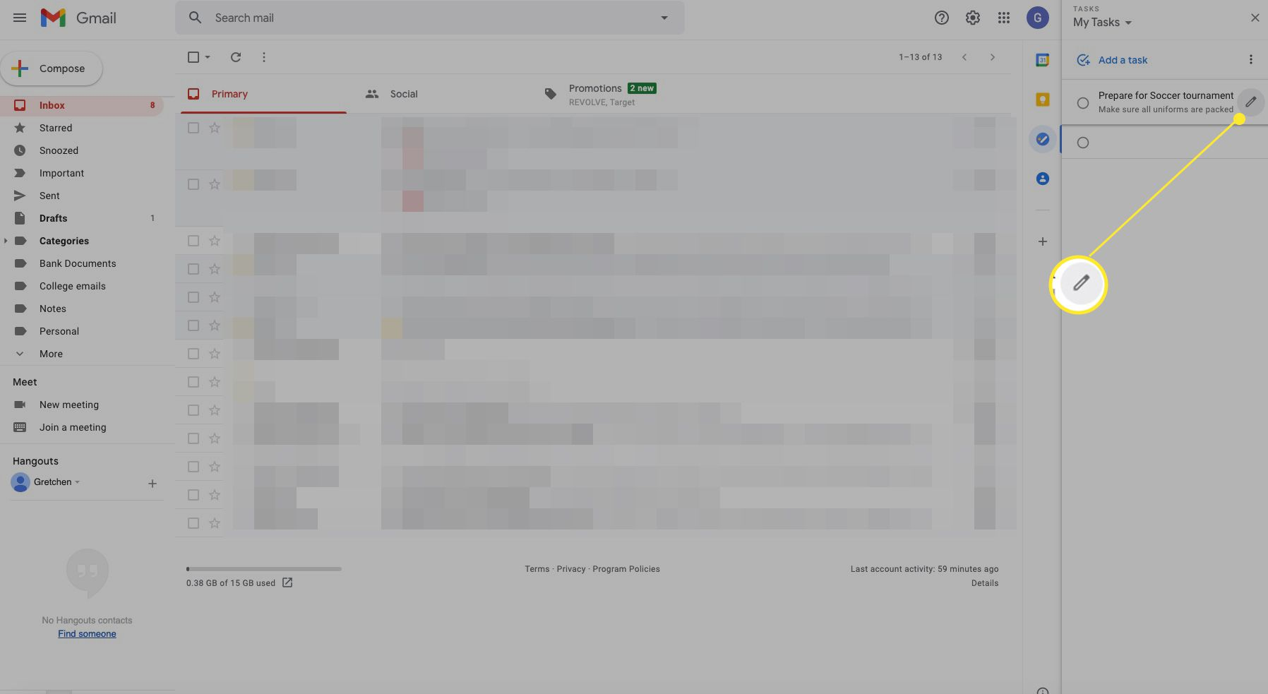 Tasks screen with edit icon highlighted