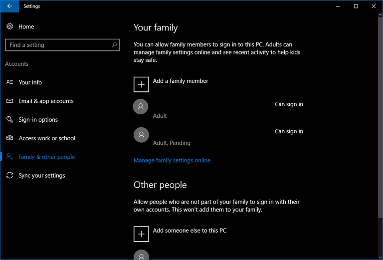 creating an account in windows 10 starts here in the settings app