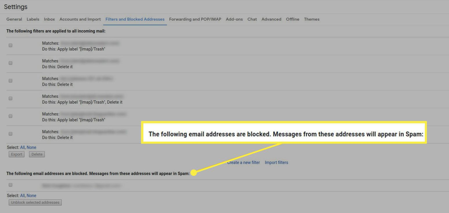 The list of blocked email addresses