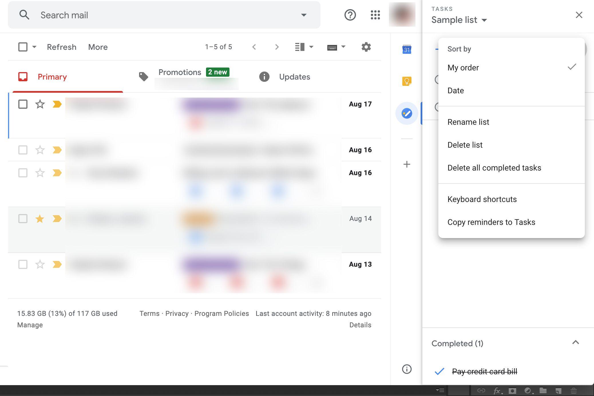 Google Tasks menu options