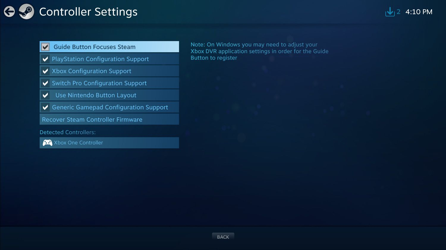 Steam Big Picture settings
