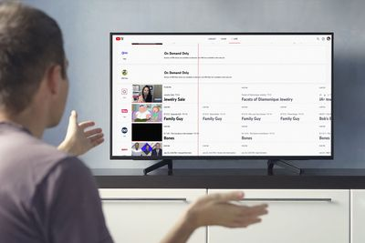 A man trying to watch YouTube TV.