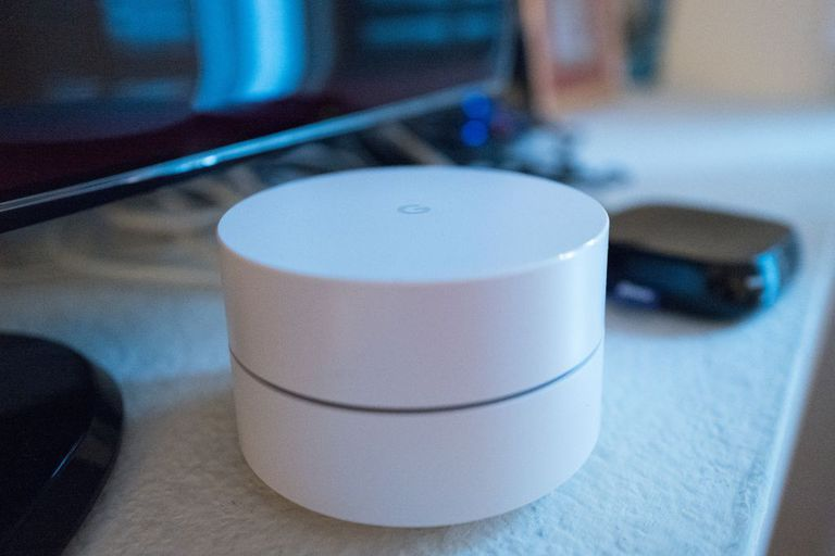 A Google Wifi Router before it's set up.