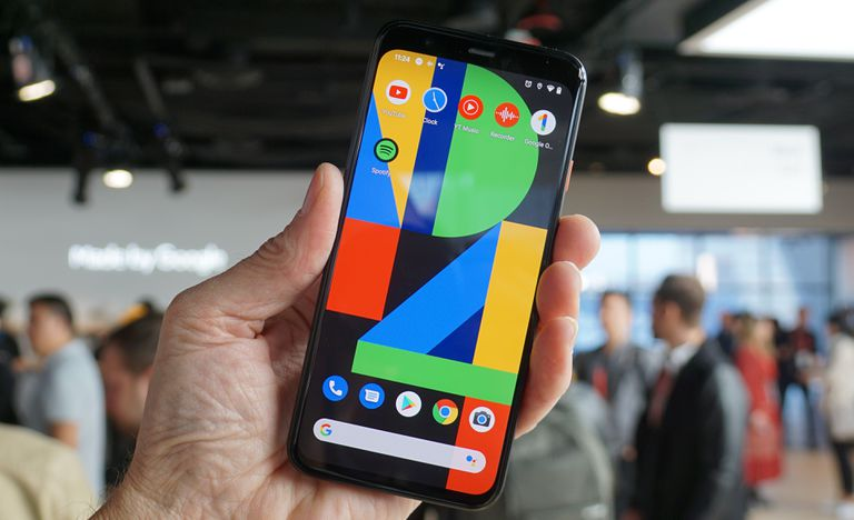 Google Pixel 4 held in a hand at the Google Event