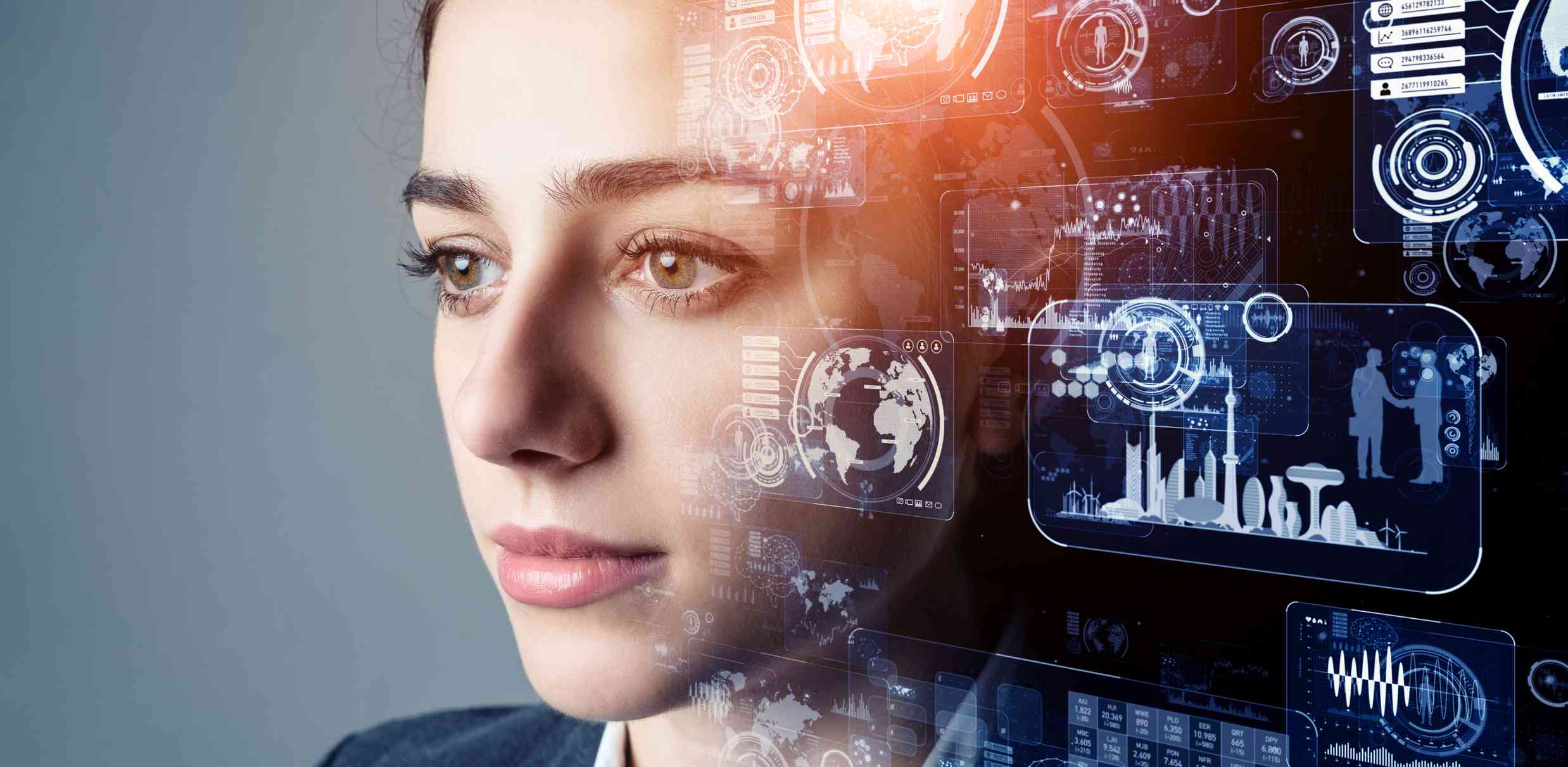 An image of a woman with artificial intelligence graphics overlayed on part of her face and her brain area.