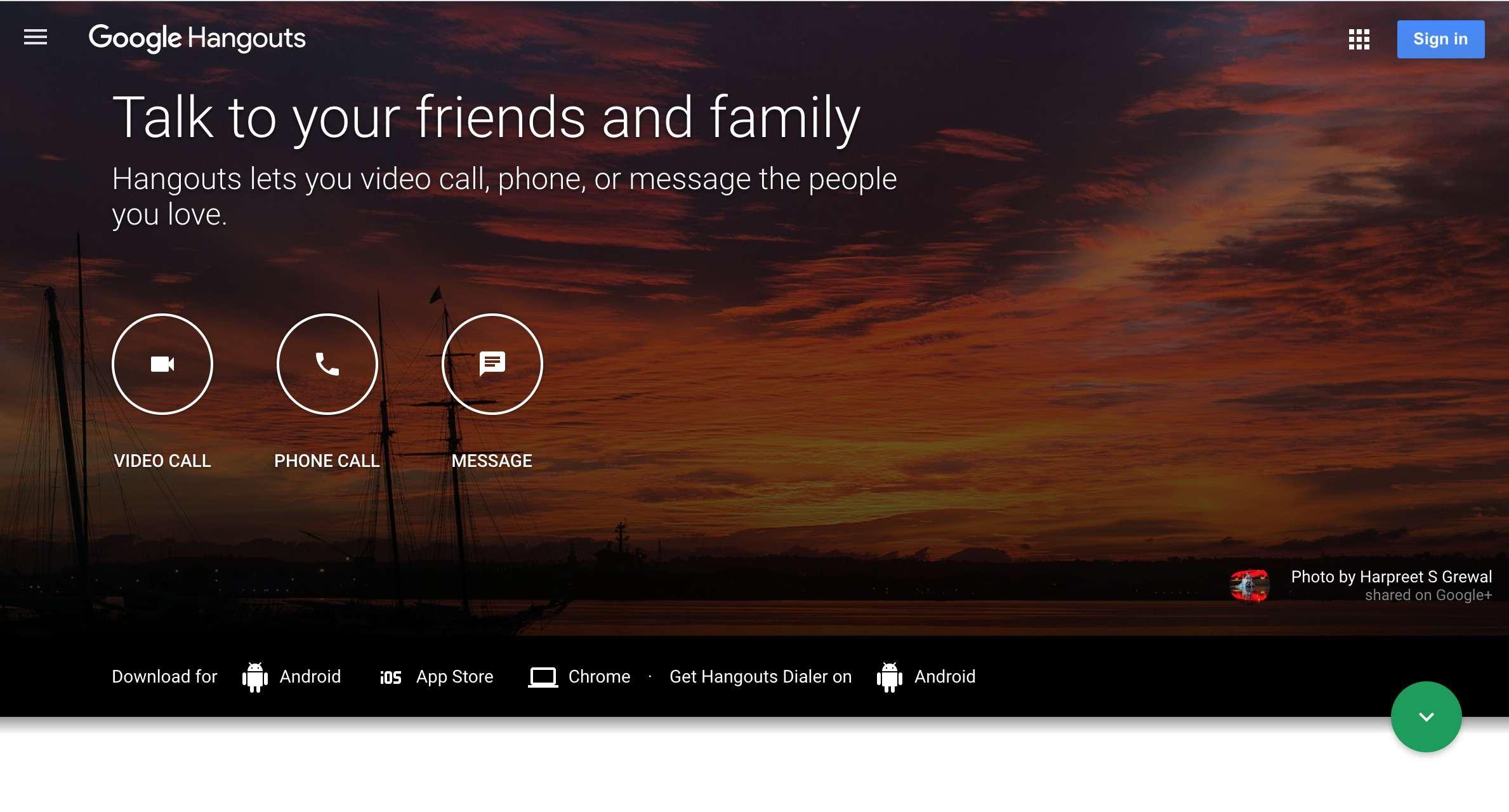 Google Hangouts web site