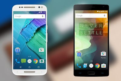 Moto X Pure edition (left) and OnePlus 2 (right)