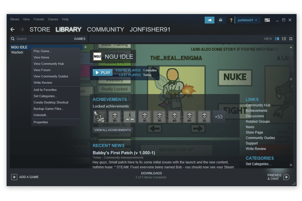 Steam game library with uninstall option