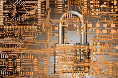 Close up of padlock in microchip