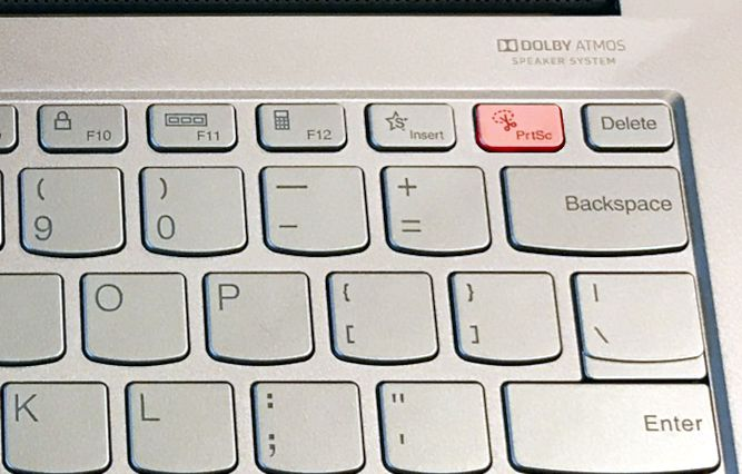 Lenovo laptop keyboard with Print Screen highlighted