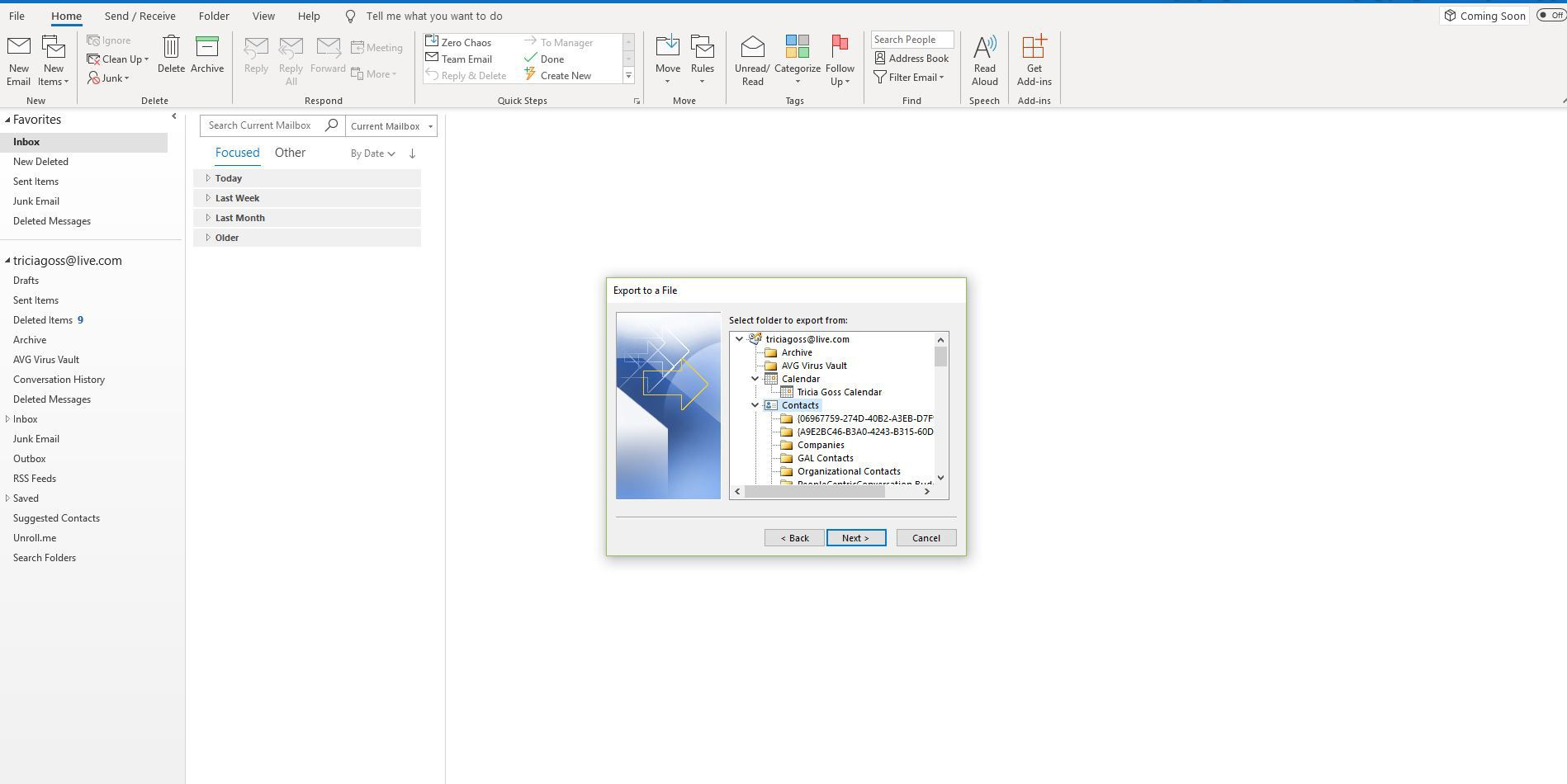 Contacts folder in Export a file window in Outlook