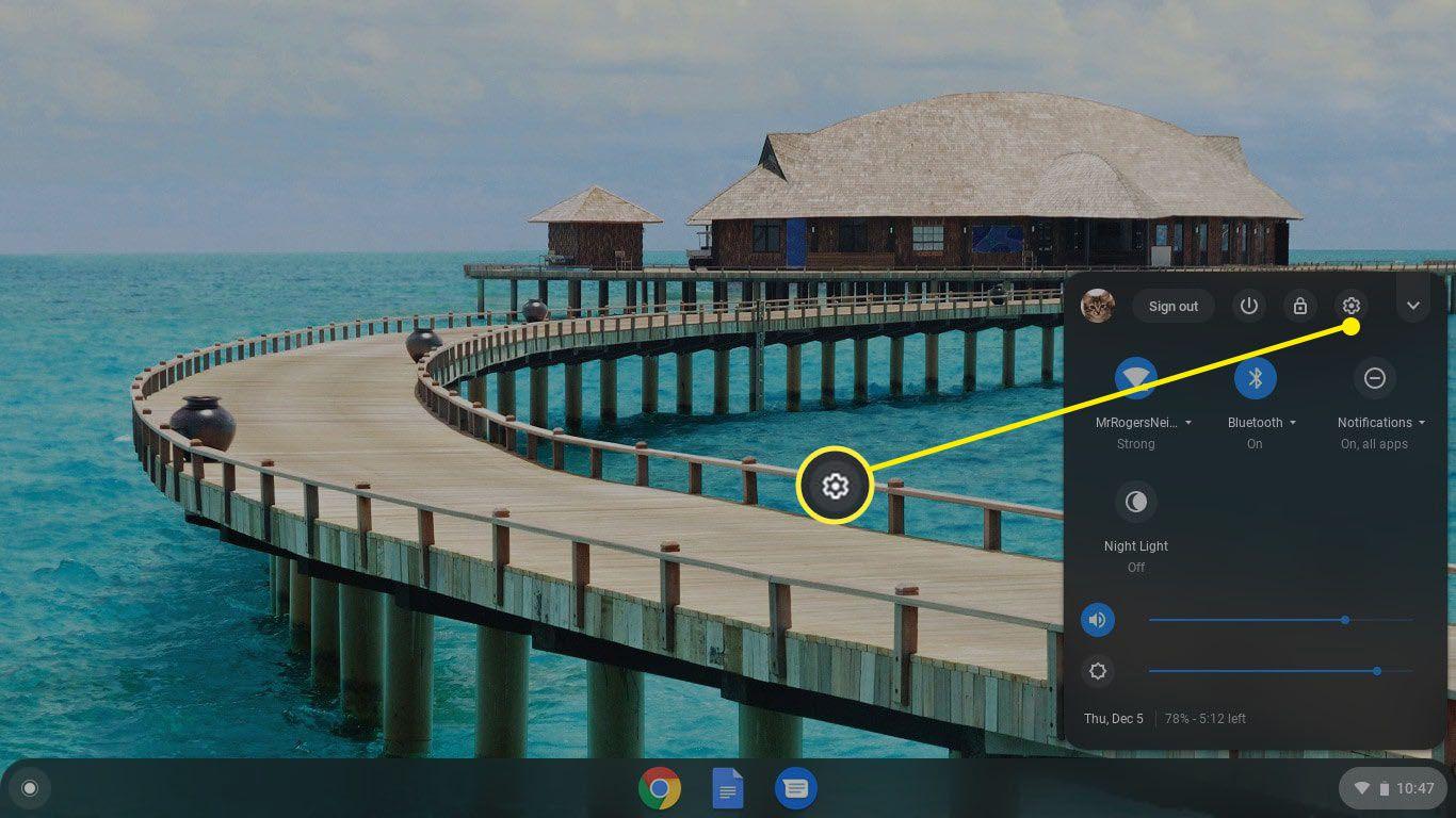Lower-right taskbar in Chromebook