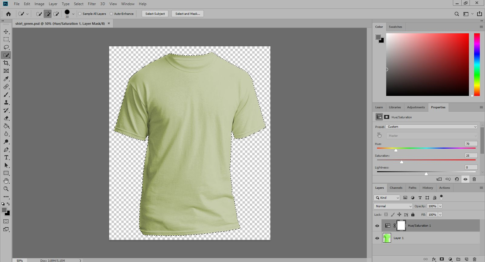 Selecting the tshirt image to apply pattern in Photoshop.