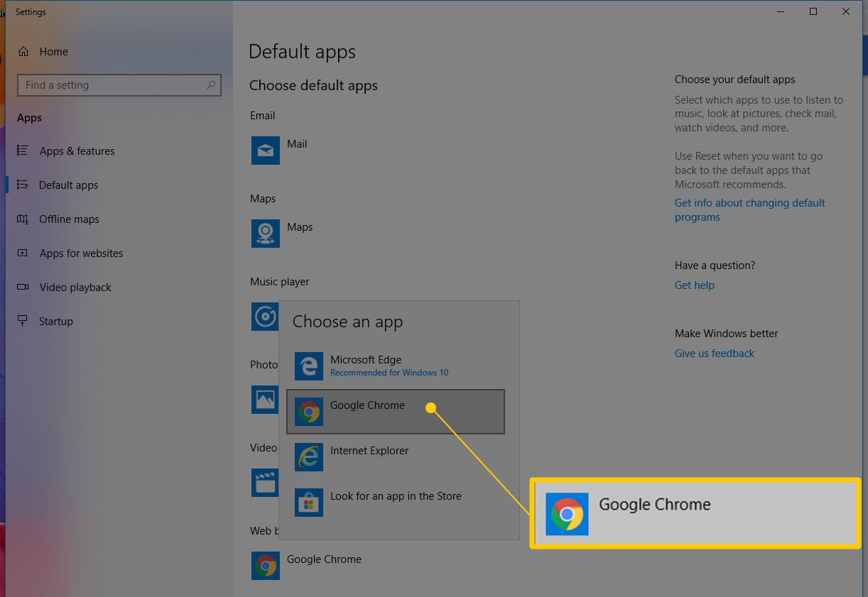 Google Chrome app as Default browser in Windows 10
