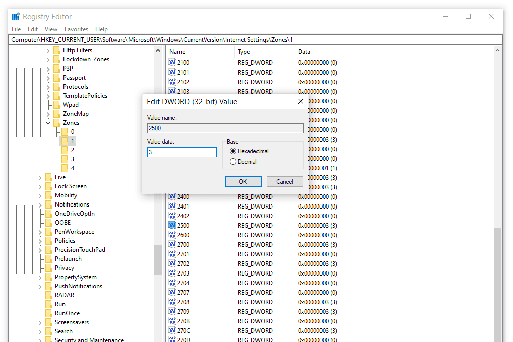 Windows 10 registry DWORD value for disabling IE protected mode