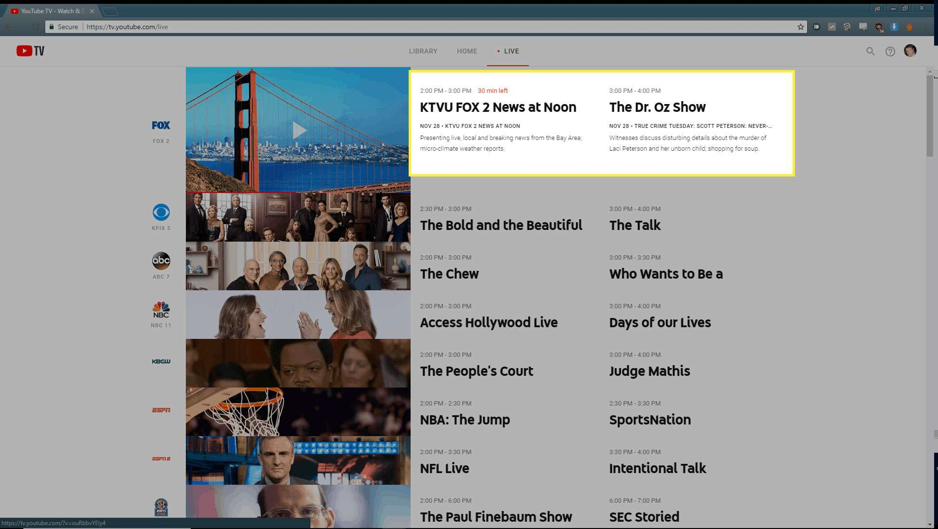 Channel info on YouTube TV