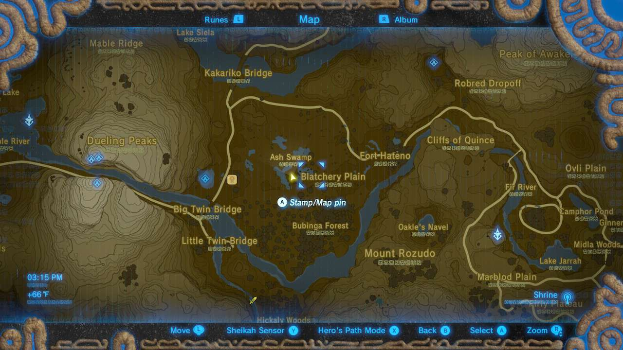 Map of Ash Swamp in The Legend of Zelda: Breath of the Wild.