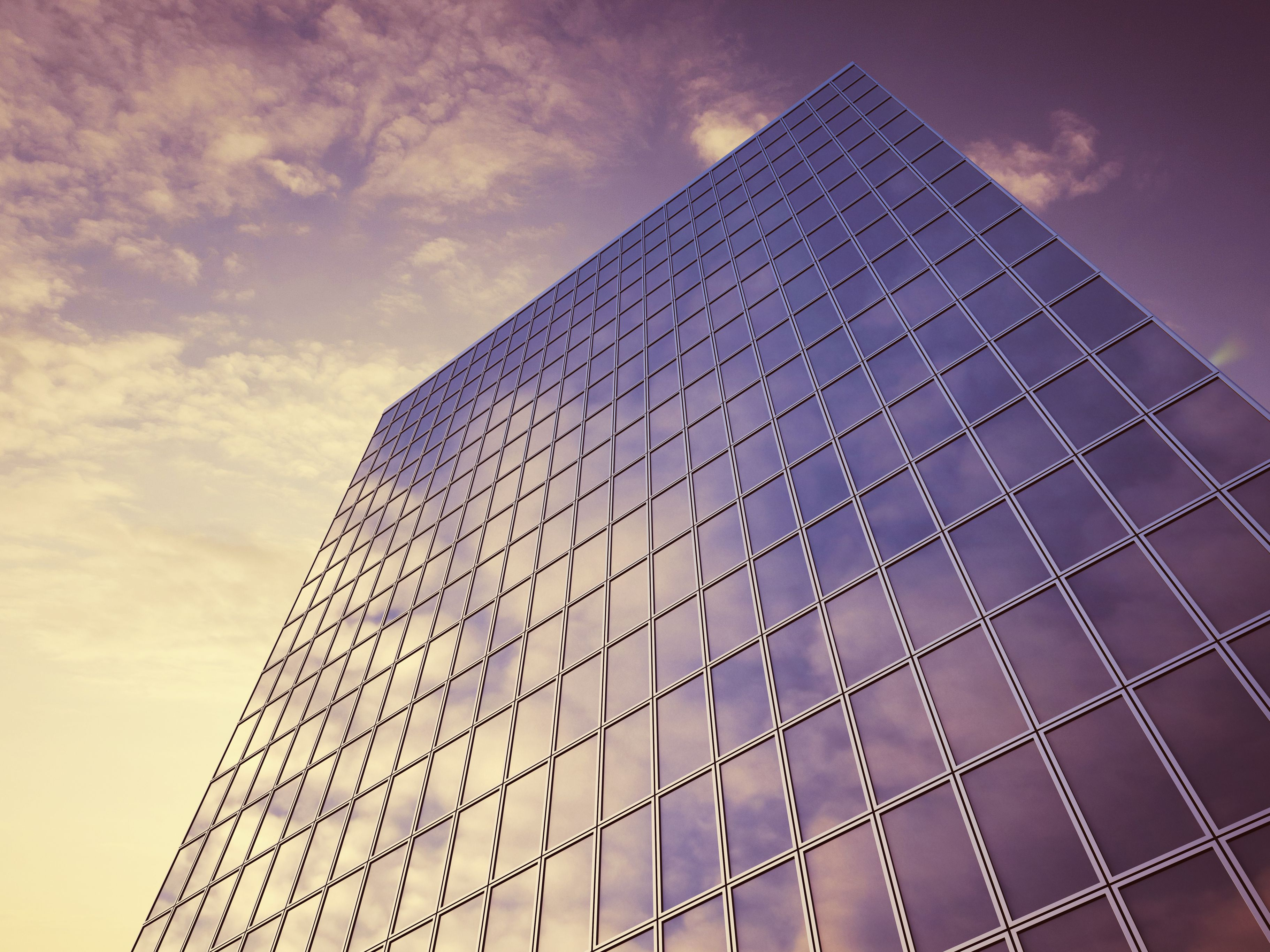 Glass facade with reflections of clouds, 3D Rendering