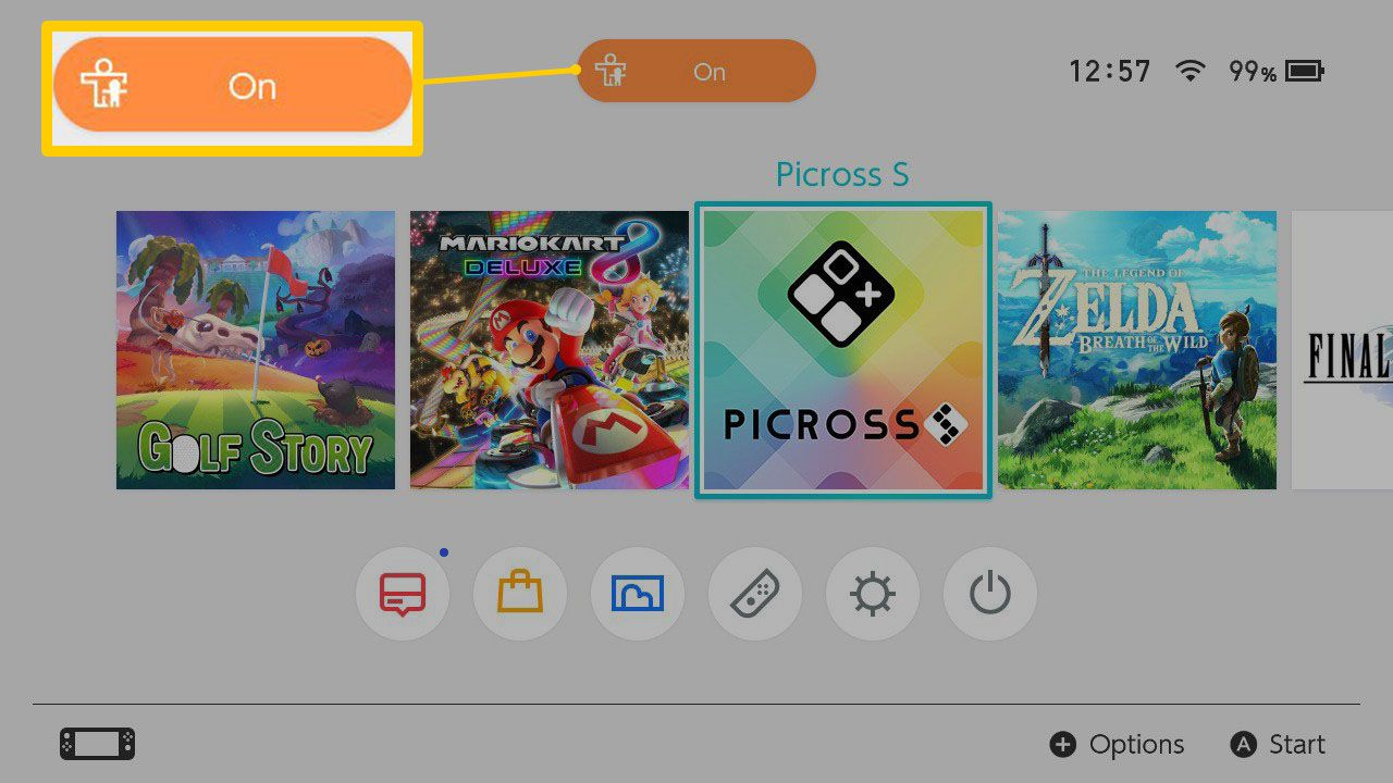 The Nintendo Switch Home Screen with Parental Controls enabled