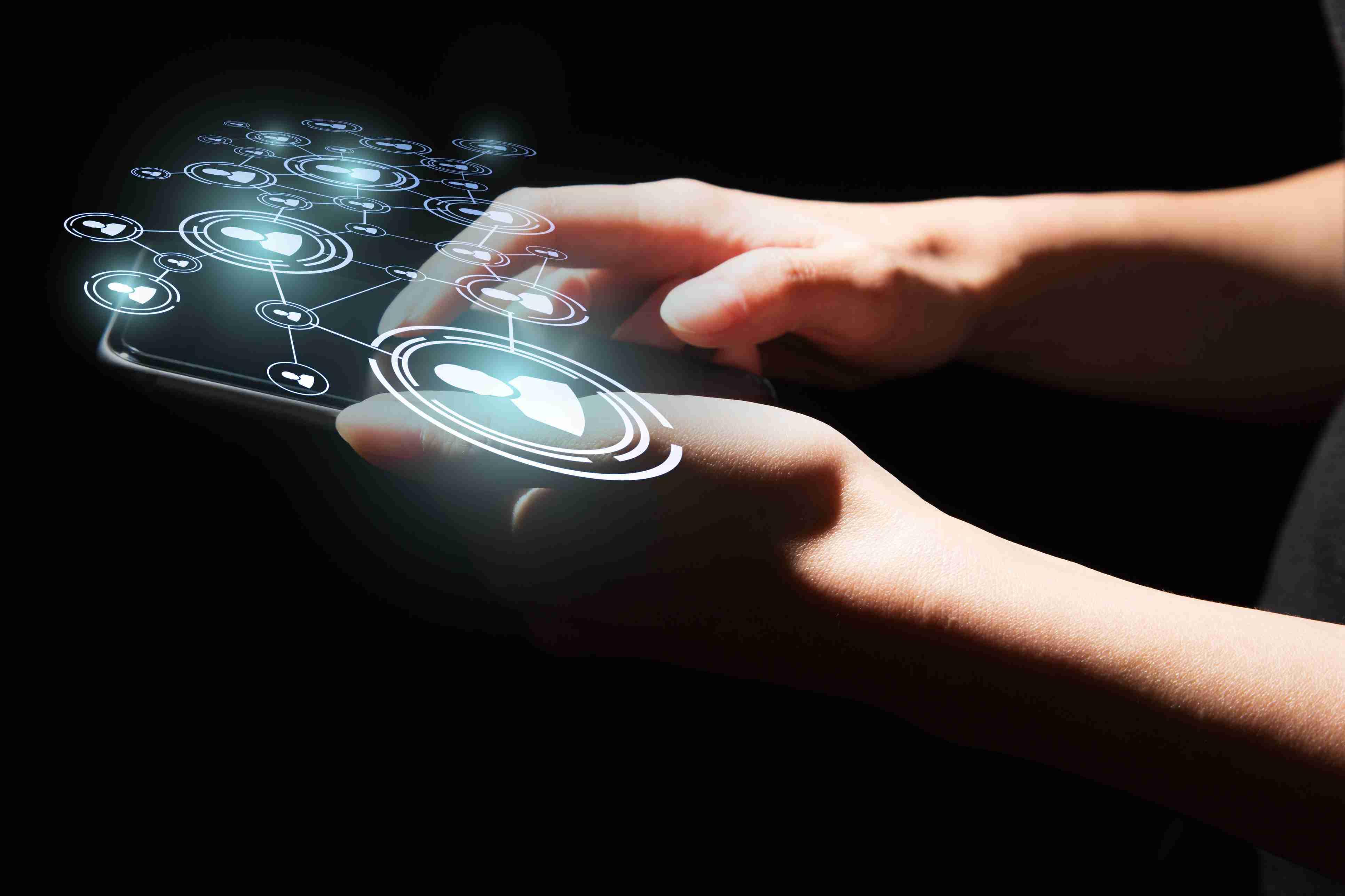 Device with futuristic hologram