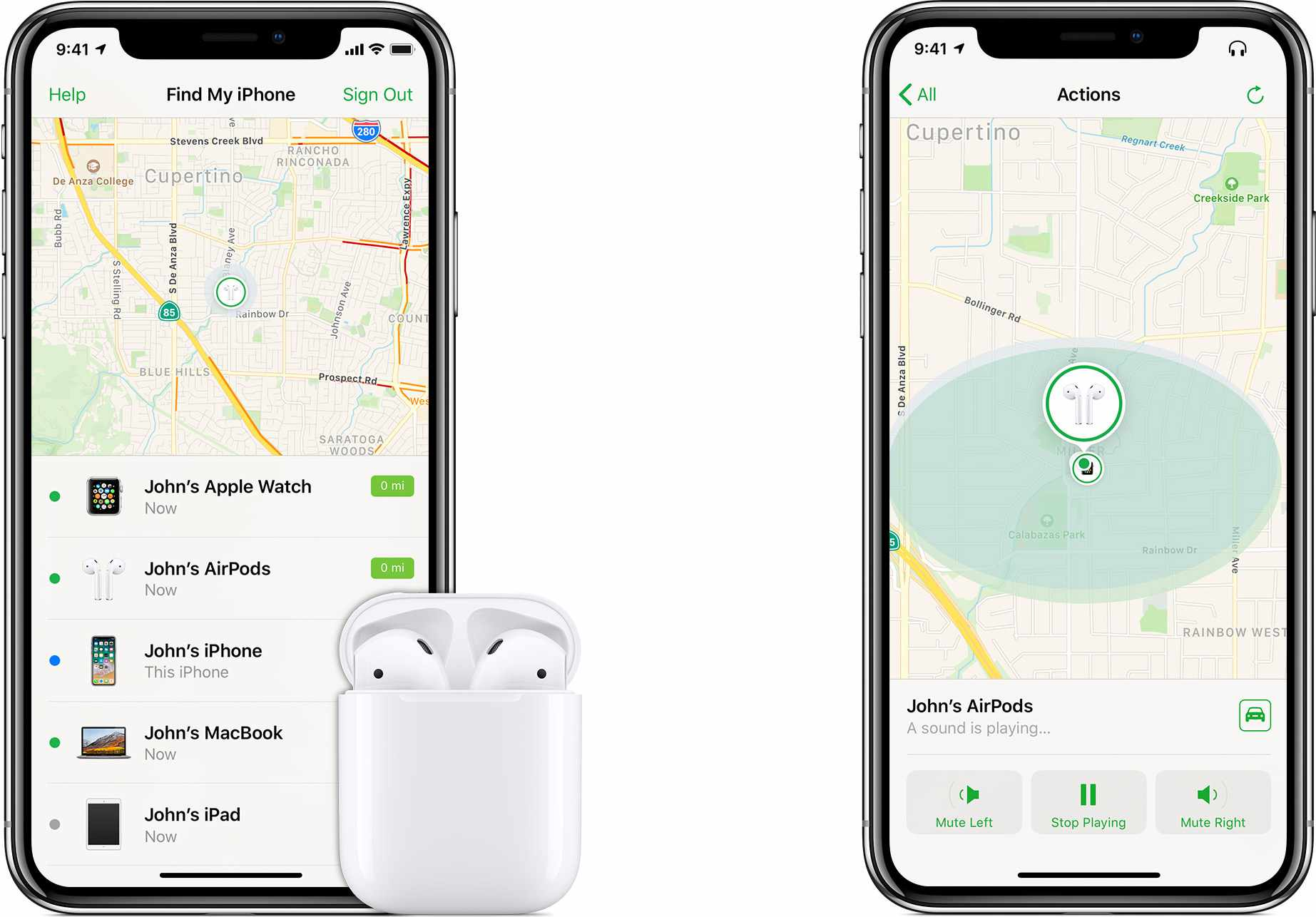 The Find My AirPods feature on iPhone.