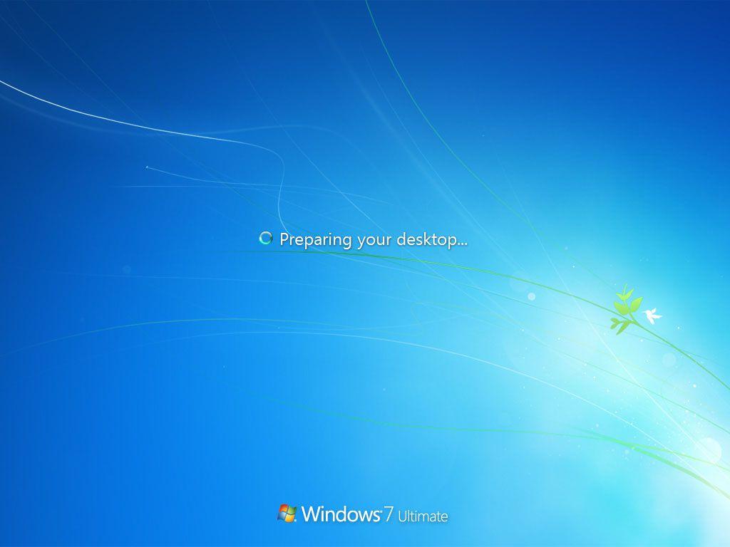 Windows 7 preparing your desktop message