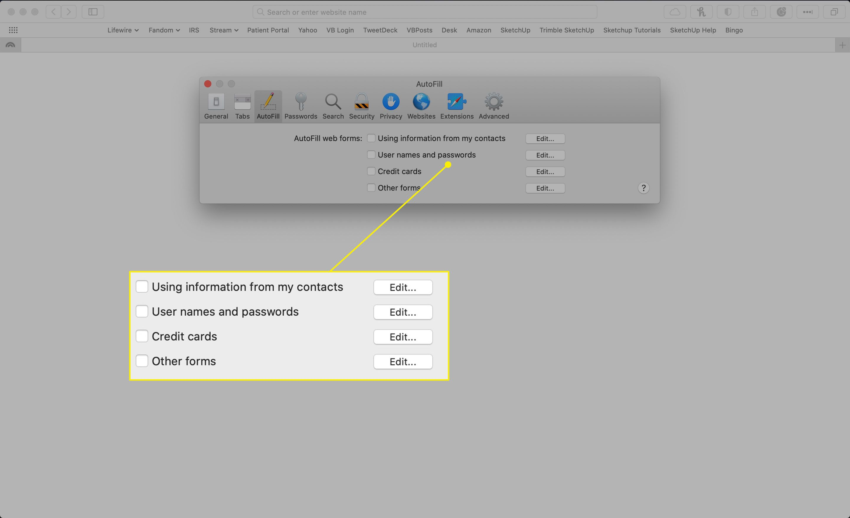 AutoFill options in Safari