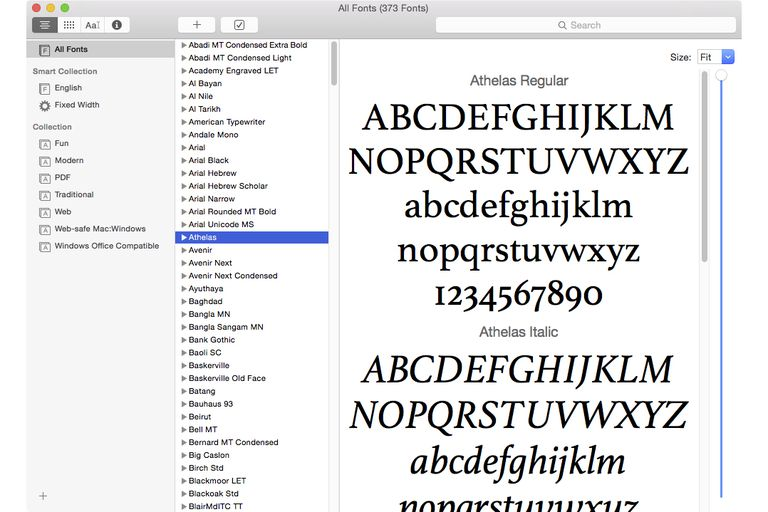 Screenshot of the Font Book application